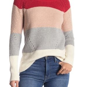 Lucky Brand Colorblock Pointelle Sweater